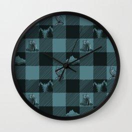 Fox and Bear Plaid #3 BLUE Wall Clock