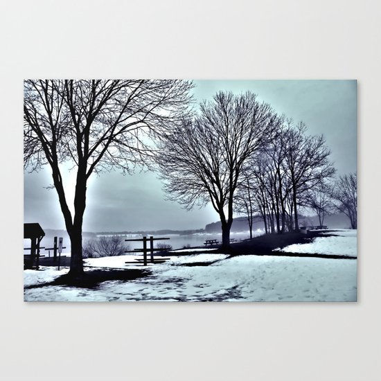 Winter Trees by the Lake Canvas Print