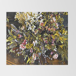 Yellow and Pink Bouquet of Flowes Throw Blanket