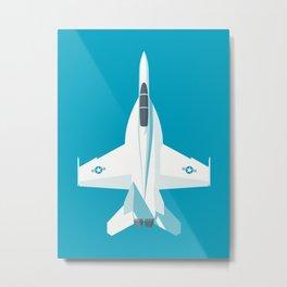 F-18 Super Hornet Jet Aircraft - Cyan Metal Print