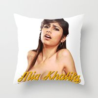 wiz khalifa Throw Pillows featuring Mia Khalifa by MartiniWithATwist