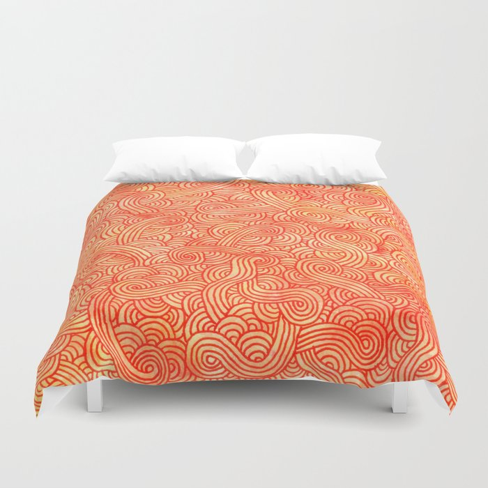 Red and orange swirls doodles Duvet Cover