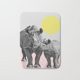 Rhino Print, Baby Rhino Print, Nursery Animal Wall Art, Safari African Animals, Black And White Bath Mat