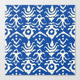 Blue Ikat Damask Print Canvas Print