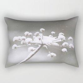 Snow Covered Plant Winter Scene Rectangular Pillow