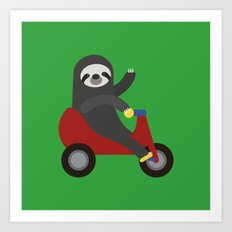 Sloth on Tricycle Art Print