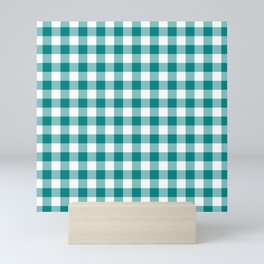 Simple Teal and White Gingham Pattern Mini Art Print