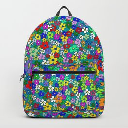 Colorful Daisies. Vibrant Colorful Pattern With Many Flowers Backpack