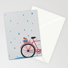 Bicycle & rain Stationery Cards