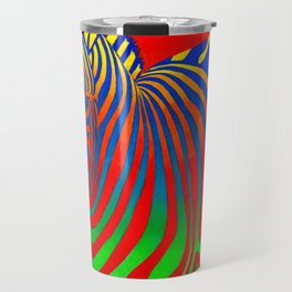 Colorful Psychedelic Rainbow Zebra Travel Mug