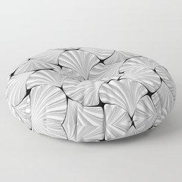 3-D Art Deco Silver Shells Pattern Floor Pillow
