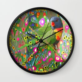 Fantasy Garden Lorikeets Wall Clock