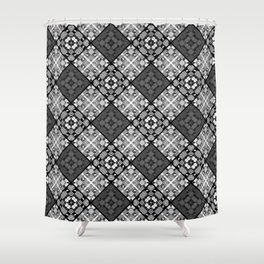 Black and white patchwork 3 Shower Curtain