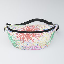 Australian Firewheel Flowers in Mod Rainbow + White Fanny Pack