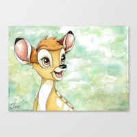 bambi Canvas Prints featuring Bambi by Elise Hoglund
