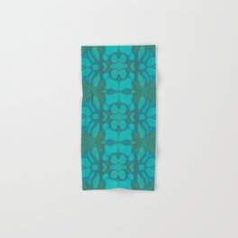 Evergreen and Aqua Nouveau Pattern Hand & Bath Towel