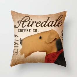 Airedale dog Coffee company by Stephen Fowler Throw Pillow