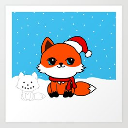 A Fox in the Snow Art Print