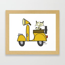 cat on a scooter Framed Art Print