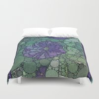 potato Duvet Covers featuring Percolated Purple Potato Flower by Charma Rose