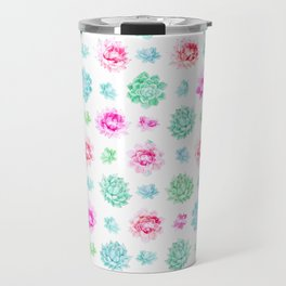Blush pink teal modern trendy summer cactus floral Travel Mug