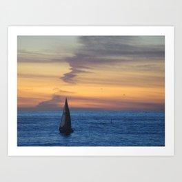 Sunset Sailboat RB, Ca. 1-19-19 Art Print