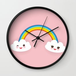 Kawaii funny white clouds, muzzle with pink cheeks and winking eyes, rainbow on light pink Wall Clock