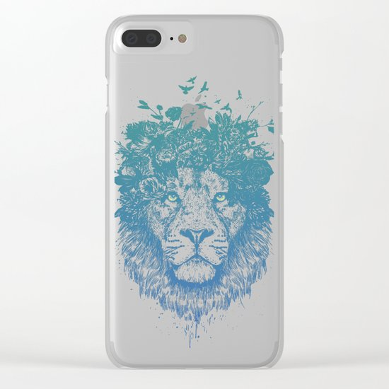 Floral lion Clear iPhone Case