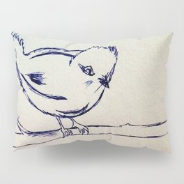 Curious Bird Ink Drawing Pillow Sham