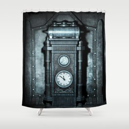 Silver Steampunk Generator Machine Shower Curtain