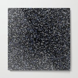 Black White and Blue Marble Metal Print