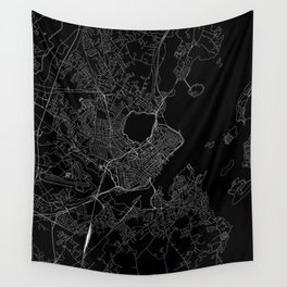 Portland Maine Black Map Wall Tapestry