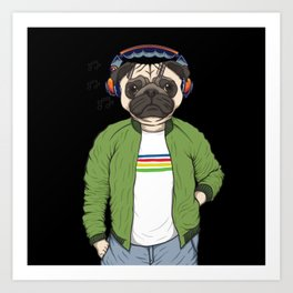 Dog with headphones and music Art Print