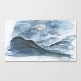Sketch of Ólafsfjörður at night  Canvas Print
