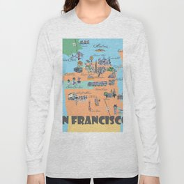 San Francisco Fine Art Print Retro Vintage Favorite Map with Touristic Highlights Active Long Sleeve T-shirt