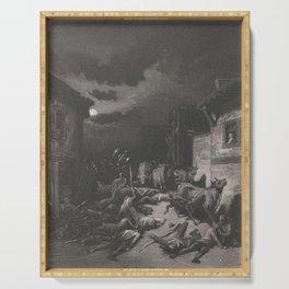 Gevallen Soldaten in een Dorp Gustave Dore Serving Tray