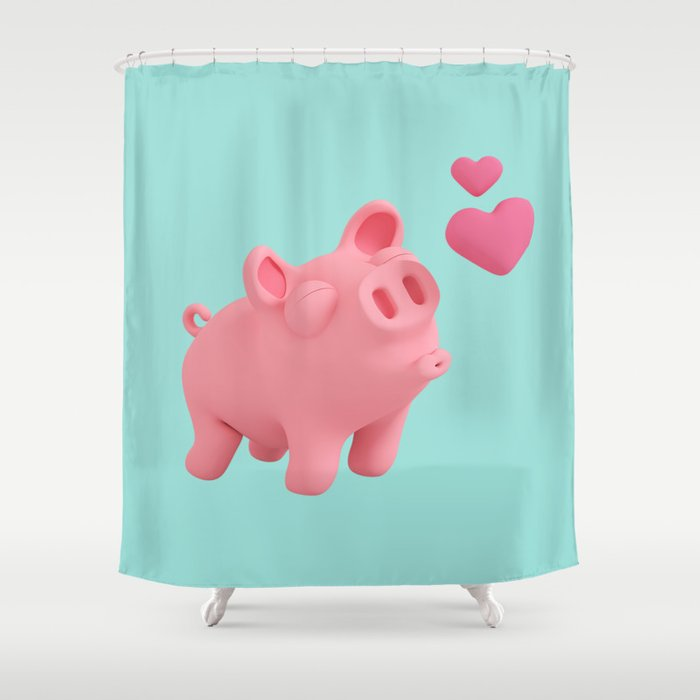 Rosa The Pig Blow Kisses Shower Curtain By Whatsuplars