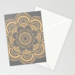 Mandala Flower Gray & Peach Stationery Cards