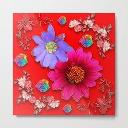 Red Watercolor Flowers Japan Metal Print
