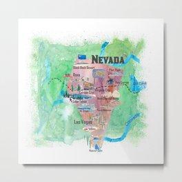 USA Nevada State Illustrated Travel Poster Favorite Map Metal Print