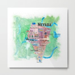 USA Nevada State Illustrated Travel Poster Favorite Map Metal Print