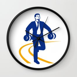 Businessman Power Walking Dumbbells Retro Wall Clock