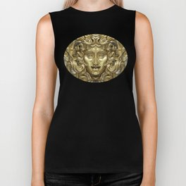 """Ancient Golden and Silver Medusa Myth"" Biker Tank"