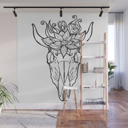 Vintage bull skull with flower on her head Wall Mural