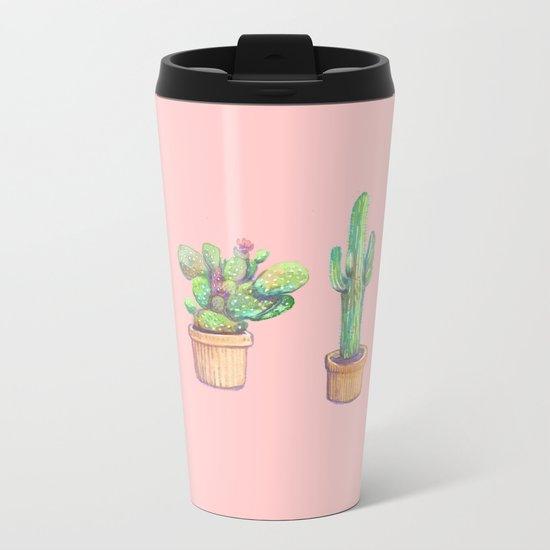 four water color cactus in pink Metal Travel Mug