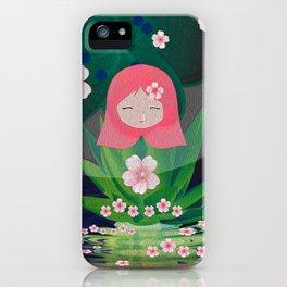 Green Lotus Girl Modern Floral Print iPhone Case