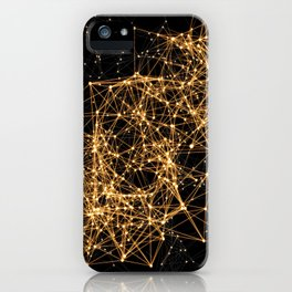 Shiny golden dots connected lines on black iPhone Case
