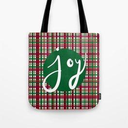 Holiday Plaid Joy - Green Tote Bag