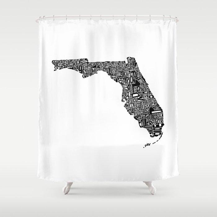 Typographic Florida Shower Curtain