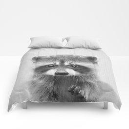Raccoon - Black & White Comforters